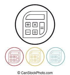calculadora, línea, icono