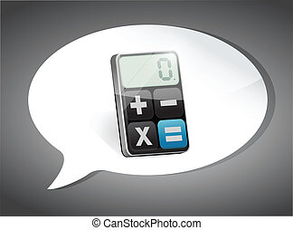 calculadora, ligado, borbulho fala, ilustração, desenho