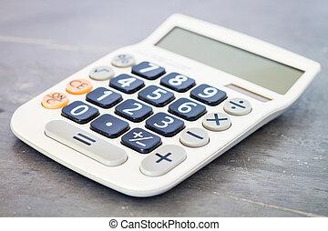 calculadora, ligado, cinzento, fundo