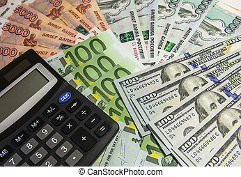 calculadora, ligado, dinheiro, experiência.