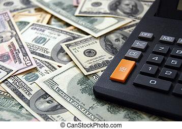 calculadora, ligado, dinheiro, fundo