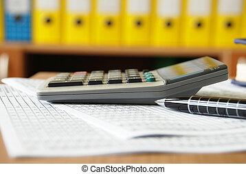 calculadora, ligado, escrivaninha escritório