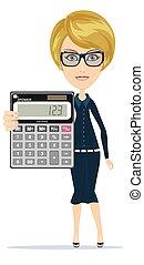 calculadora, mulher, eletrônico, segurando
