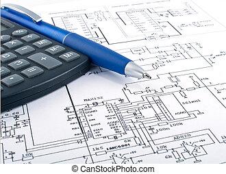 calculadora, pluma, diagrama, eléctrico