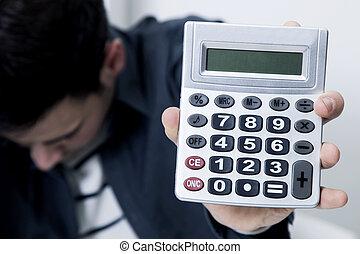 calculadora, problemas, hombre