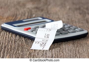 calculadora, recibo, impreso