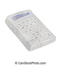 calculadora, retro, caricatura