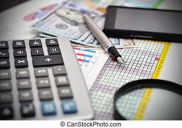 calculadora, telefone, e, dinheiro