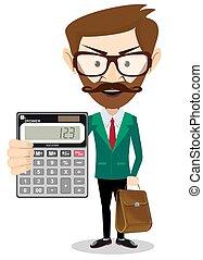 calculadora, tenencia, hombre
