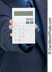 calculadora, trabajador, oficina
