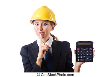 calculadora, trabalhador construção, femininas