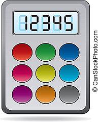 calculadora, vector, colorido