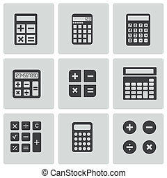 calculadora, vector, negro, conjunto, iconos