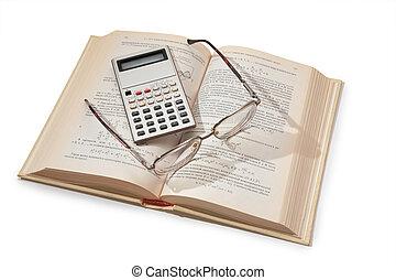 calculadora, y, anteojos on, apertura, libro de texto