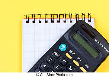 calculadora, y, bloc, opinión del primer, above.