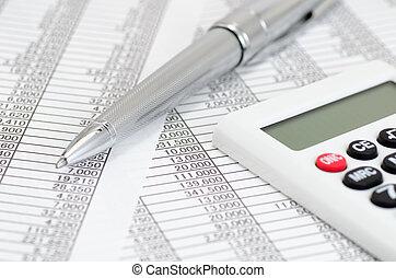 calculadora, y, bolígrafo, y, contabilidad, documentos