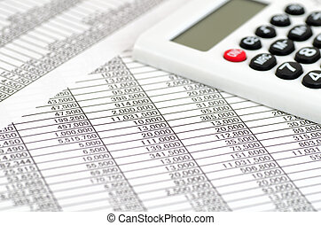 calculadora, y, contabilidad, documentos