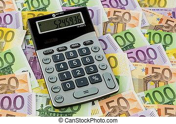 calculadora, y, euro, cuentas