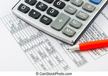 calculadora, y, pen.