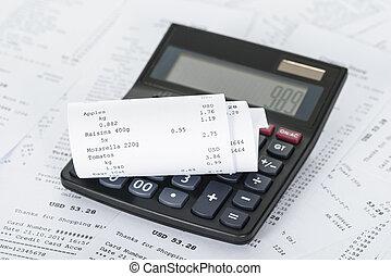 calculadora, y, recibos, con, costes