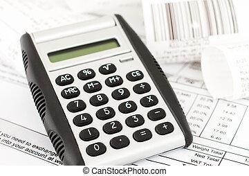 calculadora, y, recibos