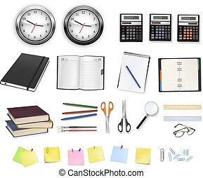 calculadoras, materiais, clocks