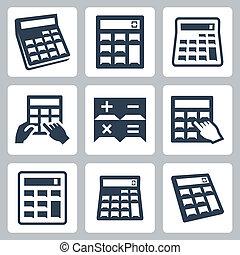 calculadoras, vetorial, jogo, ícones