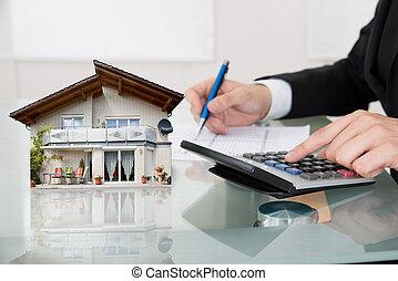 calculando, energia, eficiência, taxa, escrivaninha, homem...