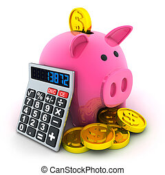 Calculate and moneybox - Calculate and pig moneybox (done in...