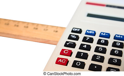 Calculate and Rule - Calculator and Measuring Rule Isolated...