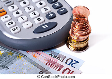 Calculate expenses - Detail view of euro coins and banknotes...