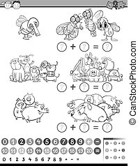 calculate game for coloring - Black and White Cartoon...