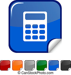 Calculate icon. - Calculate sticker icon. Vector...