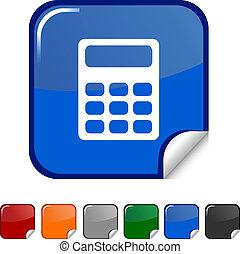 Calculate icon. - Calculate sticker icon. Vector...
