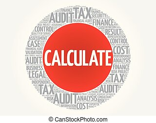 CALCULATE word cloud collage, business concept background