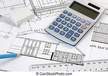 calculater, y, regla, en, planes