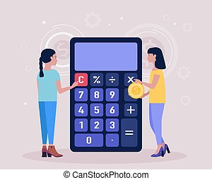 Calculating. Financial analytics concept. Economy concept. Colorful flat vector illustration.