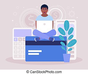 Calculating. Financial analytics concept. Economy concept. Young man sitting with a laptop on a bank card. Colorful flat vector illustration.
