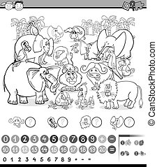 Black and White Cartoon Illustration of Education Mathematical Game of Counting Safari Animals for Preschool Children