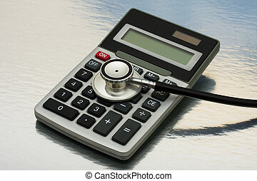 A calculator and stethoscope isolated on a shiny background, calculating healthcare costs