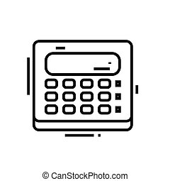 Calculating line icon, concept sign, outline vector illustration, linear symbol.