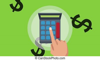 Calculating profits with calculator - Hand using calculator...