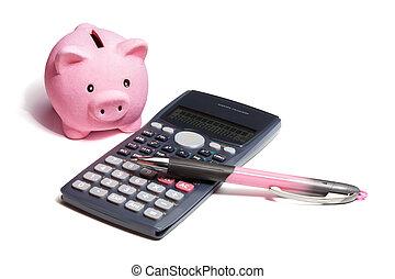 Calculating Savings - piggybank, pen and calculator