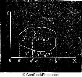 Calculating the center of gravity in the general case, vintage engraving.