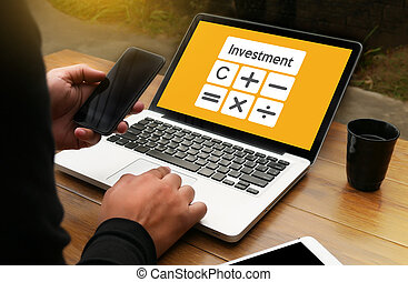 Calculation Business Investment Accounting Banking Budget Calculator ,  pressing calculator buttons and  documents , savings, finances, economy  alculator counting money