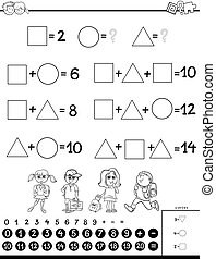 calculation educational game coloring book - Black and White...