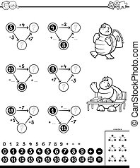 Black and White Cartoon Illustration of Educational Mathematical Calculation Puzzle Game for Children Coloring Book