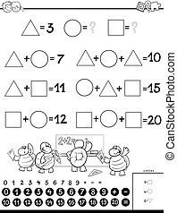 calculation educational game for kids color book - Black and...