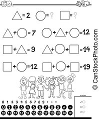 calculation educational game for kids coloring book - Black...