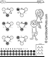 Black and White Cartoon Illustration of Educational Mathematical Calculation Diagram Task for Kids Coloring Book
